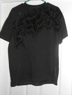 Men's Grey & Black FOX Large Logo Short Sleeve Shirt, Size XL, Good Shape! #FOX #CrewNeckPullOver