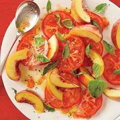 Peach, Tomato and Basil Salad ; This tomato and basil salad is just peachy, especially since it only requires 5 ingredients and about 5 minutes to prepare.