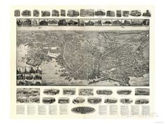8 x 12 Reproduced Photo of Vintage Old Perspective Birds Eye View Map or Drawing of: New London, Connecticut Hughes & Bailey 1911 New London Connecticut, Birds Eye View Map, Old Wall, London Map, London Photos, Original Image, Vintage World Maps, Photo Wall, Perspective