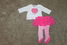 Mud Pie Girls 2 Piece Outfit Set Pink Heart Pink TuTu White Size 0-6 #MudPie #Everyday