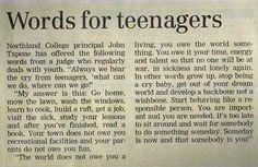 Words for Teenagers by Northland College principal John Tapene