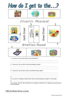 giving directions, prepositions of place, places in a town worksheet - Free ESL printable worksheets made by teachers Portuguese Lessons, Learn Portuguese, English Lessons, Learn English, Dream English, English Class, Coping Skills, Writing Skills, English Games