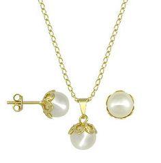 Conjunto folheado a ouro com brincos e pingentes de pérola branca (inclui corrente)