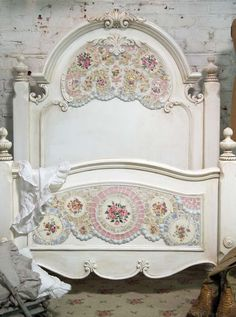Victorian bed - redo from Mahogany or Walnut with white paint.  Embellished with mosaics.  A shamelessly romantic creation.