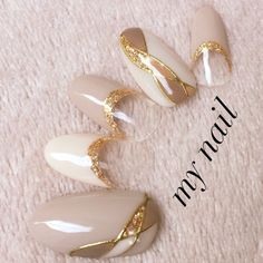 Beautiful with Gold accents nice crystal clear. Korean Nail Art, Korean Nails, Colorful Nail Designs, Gel Nail Designs, Gorgeous Nails, Pretty Nails, Japan Nail, Asian Nails, Self Nail
