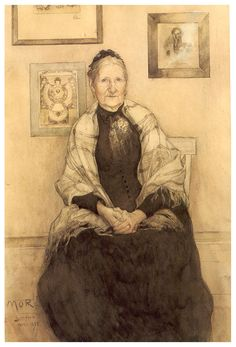 Carl Larsson - My Mother, Watercolor