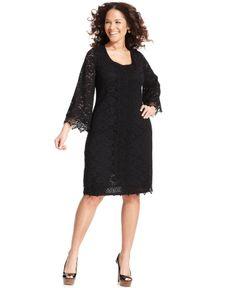 Alfani Plus Size Three-Quarter-Sleeve Lace Sheath Dress - Plus Size Dresses - Plus Sizes - Macy's