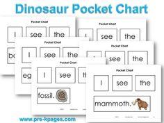 Printable Dinosaur Pocket Chart Sentences for Emergent Readers #preschool #kindergarten