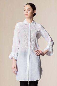 Camicia cotone ricamata a mano bianco - Nuovi arrivi #dressingfab #shopping #shoponline #fashion #shirt