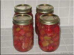 Canning Rhubarb Pie Filling (rhubarb, water, ClearJel, sugar, lemon juice)  HWB x 15 min's  --  would add an egg to this when assembling the pie to get the rhubarb custard pie we love