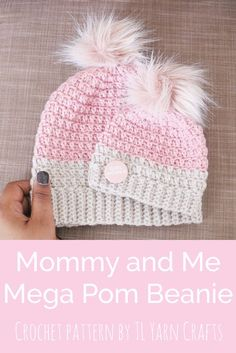 Mommy and me set made from the Mega Pom Beanie pattern. *Note: Pattern includes adult size only.