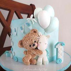 Baby Boy Birthday Cake, Baby Boy Cakes, Baby Shower Cakes, Mermaid Birthday, Teddy Bear Birthday Cake, Birthday Cake Kids Boys, Girl Cakes, Teddy Bear Baby Shower, Baby Boy Shower