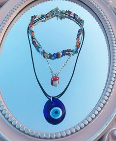 Funky Jewelry, Hippie Jewelry, Cute Jewelry, Jewelry Accessories, Cute Necklace, Ring Necklace, Evil Eye Necklace, Beaded Necklace, Piercings