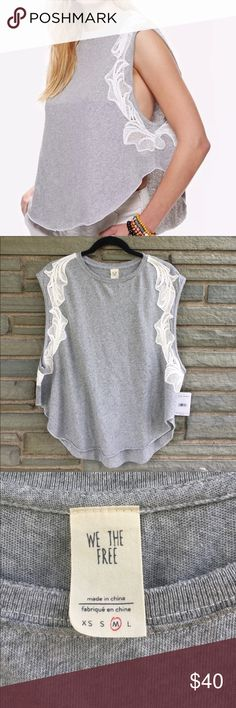 Free People Bonsai Tee NWT. Free People Bonsai Tee in Grey. Simple Tank Featuring an Ultra Rounded Hem and Cute Crochet Accents Along the Sleeves. Size M Free People Tops