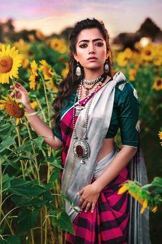 Actress Rashmika Mandanna Latest Glam Photoshoot Stills Beautiful Blonde Girl, Beautiful Girl Photo, Beautiful Girl Indian, Beautiful Saree, Beautiful Women, Indian Photoshoot, Saree Photoshoot, Glam Photoshoot, Dehati Girl Photo