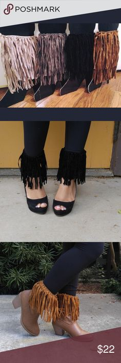 Fringe-Me Boot Cuffs Bundle - Cute with Heels too! Now you can give any pair of your favorite boots a fringe-style. We decided to get a little creative and found that they look great with heels too! Bundle includes four colors - Charcoal, Beige, Black, and Coffee **CAN SEEL BY INDIVIDUAL COLOR** TAKING NO OFFERS FOR BUNDLE PRICE Accessories