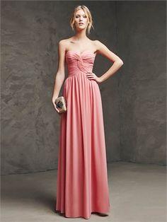Chiffon Strapless Gathered Bodice Ruched Prom Dress PD12096