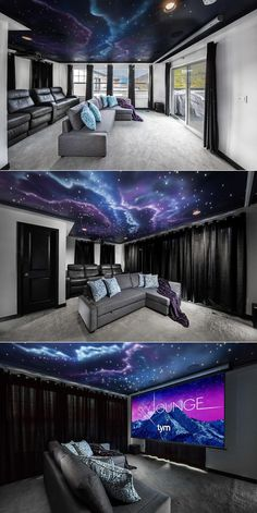 The Sky Lounge is the ultimate multipurpose space. Its a home theater/music list… The Sky Lounge is the ultimate multipurpose space. Its a home theater/music listening room/apres-ski hang out/guest room. Tym installed a custom fiber optic star ceiling alo Home Theater Basement, Movie Theater Rooms, Home Cinema Room, Home Theater Setup, Home Theater Speakers, Home Theater Seating, Home Theater Projectors, Home Theater Design, Basement Ideas