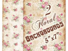 Vintage Florals backgrounds 5 x 7 inch Greeting cards Shabby