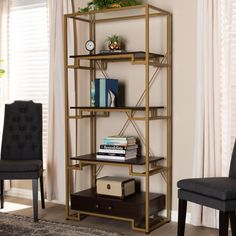 Brayden Studio Buchholz Modern and Contemporary Gold-Tone Steel and Dark Brown Finished Wood Accent Bookcase with Drawer Bookcase With Drawers, 5 Shelf Bookcase, Open Bookcase, Etagere Bookcase, Wood Drawers, Bookshelves, Dark Wood Shelves, Wooden Shelves, Cube Storage