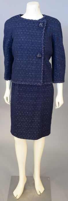Lot 445: Chanel two piece wool suit, navy sleeveles dress and matching jacket, jacket is new with tag retail $4,635. #Nadeausauction #Socialite #Luxurycouture #vintagecouture #vintagefashion