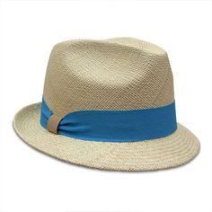Hat Attack Classic Panama Fedora - Natural Turquoise
