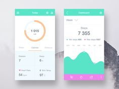 Hey guys, our new concept for Fitness App. You could follow statistic of  your steps  every day, distance and display calories. Hope you like them!