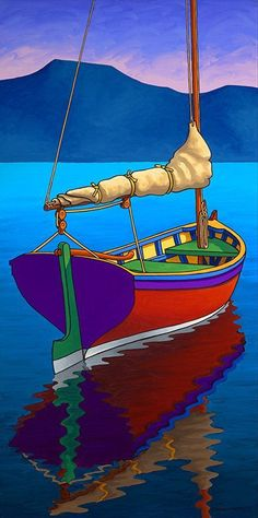 Items similar to Graham Herbert, The Cat Boat, Giclée on Canvas, on Etsy Colorful Paintings, Watercolor Paintings, Sailboat Painting, Boat Kits, Naive Art, Art Techniques, Folk Art, Art Projects, Sailing