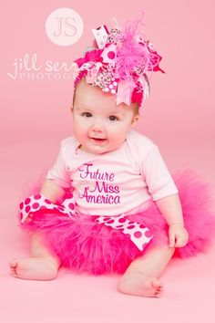 In this listing you will receive 1 Future Miss America onesie or t-shirt with matching Tutu . This tutu is made with yards and yards of raspberry