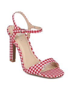 6cdf37d986 Shoes Alrisco HG59 Women Checkered Fabric Open Toe Ankle Strap Stiletto  Sandal