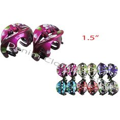 """48pcs Hair Snap Clamp Clip Claw Hand Flower Printed Scallop Wholesale Lots 1.5"""""""