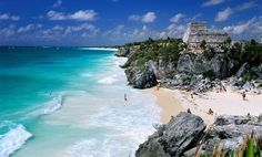 Tulum is the site of a Pre-Columbian Maya walled city serving as a major port for Cobá, Yucatan, Mexico