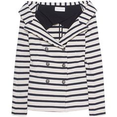 FAITH CONNEXION Sailor Striped Jacket Blue // Off-shoulder blazer... ($380) ❤ liked on Polyvore featuring outerwear, jackets, blazers, stripe jacket, blue blazer, faith connexion jacket, cotton jacket and blazer jacket