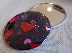 Pocket Mirror- Dark Heart Pattern. Hand Mirror. Small Mirror. Compact. Christmas Stocking Filler. Birthday Gift by GraceRigbyTextiles on Etsy