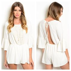3 LEFT!! Crochet Bell Romper Excellent quality Ivory Bell Sleeve Romper / White romper / Playsuit. 100% Polyester. Made in USA. Color:Cream/off white Sage Other