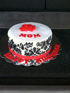 Moms birthday cake damask pattern 2013