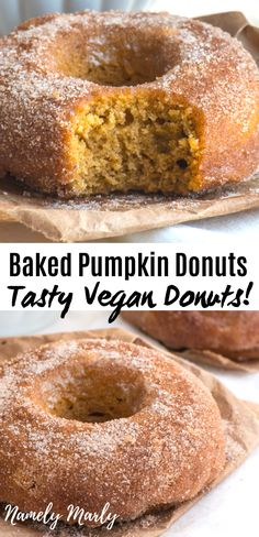 Enjoy these DELICIOUS Vegan Pumpkin Donuts! These baked donuts with Cinnamon Sugar are the BEST. These are healthy baked pumpkin donuts, not fried! Pumpkin Donut Recipe Baked, Vegan Donut Recipe, Baked Pumpkin, Donut Recipes, Pumpkin Bread, Gluten Free Pumpkin, Vegan Pumpkin, Healthy Pumpkin, Vegan Baking