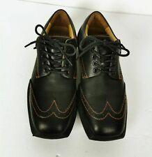 John Fluevog Black Leather Wingtip Shoes Men Size 8 Square toe Future Angel ⚡ #mensfashion $99.99