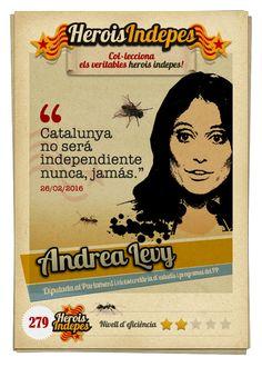 "#HeroisIndepes 279. Andrea Levy: ""Catalunya no será independiente nunca, jamás."" Andrea Levy, Cats, Crock Pot, Trading Cards, Beads, Gatos, Cat, Kitty, Kitty Cats"