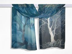 Long silk scarf ' Trees in blue ' hand painted scarves