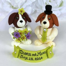 Dog wedding cake topper beagles bride and groom by PerlillaPets