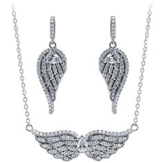 BERRICLE BERRICLE Sterling Silver CZ Angel Wings Earrings and Pendant... ($112) ❤ liked on Polyvore featuring jewelry, earrings, clear, sets, women's accessories, pendants & necklaces, cubic zirconia pendant necklace, cz pendant necklace, sterling silver pendant necklace and cz earrings