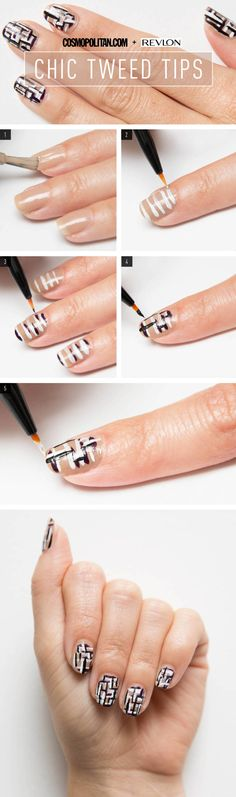 Nail Art How-To: Chic Tweed Tips - It looks hard, but it's not. Promise.