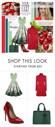 """""""Rosegal 7"""" by followme734 ❤ liked on Polyvore featuring Ultimate, H&M, vintage, GreenDress, redcoat, HolidayParty, rosegal and loveelegant"""