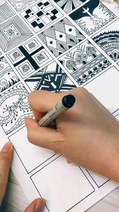 Easy Doodle Art, Doodle Art Designs, Doodle Art Drawing, Zentangle Drawings, Doodle Patterns, Mandala Drawing, Pencil Art Drawings, Zentangle Patterns, Mandala Art