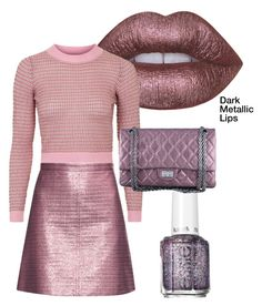 """""""metallic lips"""" by im-karla-with-a-k ❤ liked on Polyvore featuring Lime Crime, Carven, Topshop, Essie and Chanel"""