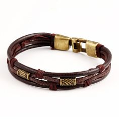 Genuine Leather Unisex Casual/Sporty Multi-Layer Alloy Hook Link Chain Holiday Bracelets for Women Man Tribal Bracelets, Woven Bracelets, Layered Bracelets, Bracelets For Men, Gold Bracelets, Braided Leather Bracelets, Cheap Bracelets, Trendy Bracelets, Bangles