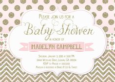 Pink and Gold Glitter Chevron and Polka Dot Baby Shower Invitation - Printable