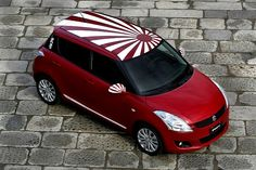 Suzuki Swift Samurai design an entry for a fancy dress competition. Suzuki will showcase the Samurai edition at Italian dealerships on February 27 and New Suzuki Swift, Suzuki Swift Sport, New Swift, Suzuki Cars, Girly Car, Car Mods, Blue Suede Shoes, Lewis Hamilton, Car Painting