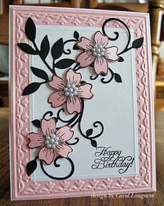 delightful handmade birthday card l.. luv the use of pearlized paper and  pearl clusters for flower centers ... pink and white with black leaves and flourishes ...